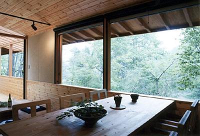 食堂より外の森を見る。